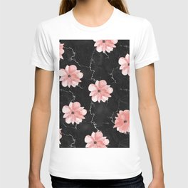 Romantic Pink Watercolor Flowers on Black Marble T-shirt