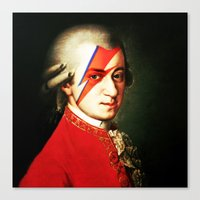 mozart Canvas Prints featuring Mozart Bowie by rodalume
