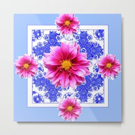Abstracted Blue Art Fuchsia Dahlias Geometric Stylized Floral Metal Print