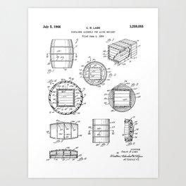 Whisky Barrel Patent - Whisky Art - Black And White Art Print
