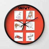 meme Wall Clocks featuring Snowy Meme by Rafstar Designs