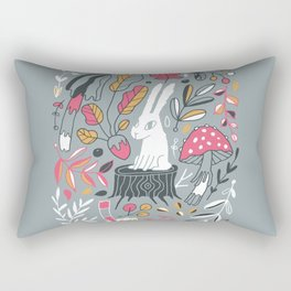 Botanical blockprint bunny Rectangular Pillow