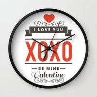 valentines Wall Clocks featuring Valentines Day by cat&wolf