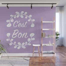 Inspirational French Quote with Leaves in Pastel Purple Wall Mural