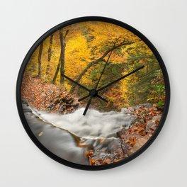 Autumn Waterfall Precipice Wall Clock