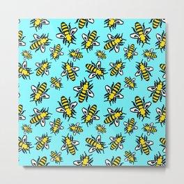 Honey Bee Swarm Metal Print