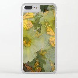DECORATIVE MONARCH BUTTERFLY FLORAL DREAMS Clear iPhone Case