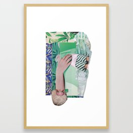 Wanda Goes on Vacation - green modern collage Framed Art Print