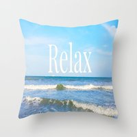 relax Throw Pillows featuring Relax by JuniqueStudio