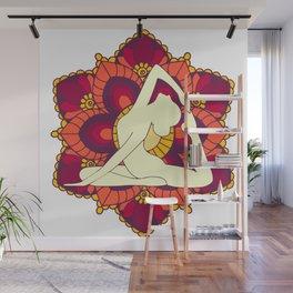 Women doing yoga mandala Wall Mural