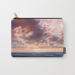 Pink dramatic sky reflection at sunrise on the beach in Spain Carry-All Pouch