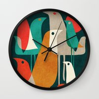 gold Wall Clocks featuring Flock of Birds by Picomodi