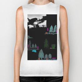 Through The Trees. Trees, Birds, Abstract, Black, White, Jodilynpaintings Biker Tank
