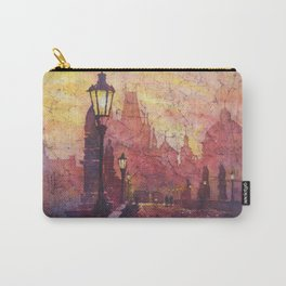 Watercolor painting of statues on Charles Bridge in medieval city of Prague- Czech Republic. Carry-All Pouch