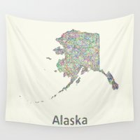 alaska Wall Tapestries featuring Alaska map by David Zydd