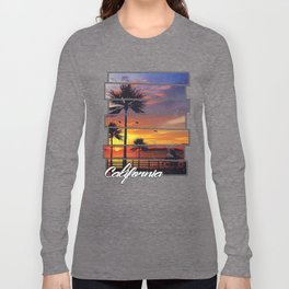 California Beach Sunset Retro Photo Island Paradise Long Sleeve T-shirt