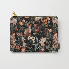 Cat and Floral Pattern II Carry-All Pouch