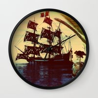 pirate ship Wall Clocks featuring pirate ship by Ancello