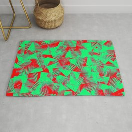 abstract bold green shapes against red background pattern design Rug