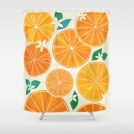Orange Slices With Blossoms Shower Curtain