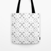 deathly hallows Tote Bags featuring Deathly Hallows (White) by Mírë