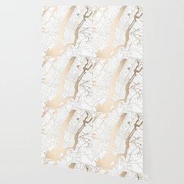 New York City White on Gold Wallpaper