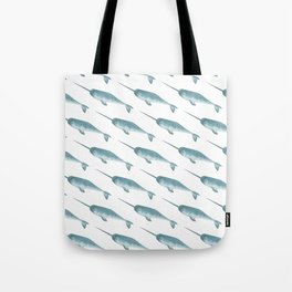 Narwhal on White Tote Bag