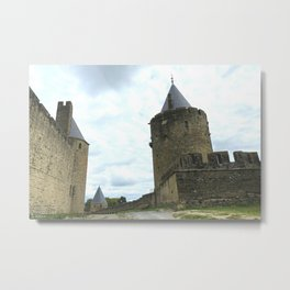 Curtain walls of the City of Carcassonne Metal Print
