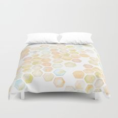 Bee and honeycomb watercolor Duvet Cover