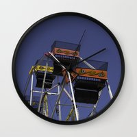 ferris wheel Wall Clocks featuring Ferris Wheel by Steve Purnell
