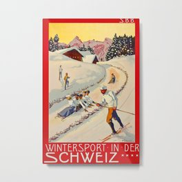 Wintersport in der Schweiz 1904 Vintage Travel Poster Metal Print