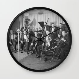 Vintage black and white photo of orchestra Wall Clock