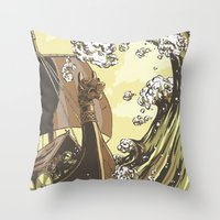 vikings Throw Pillows featuring Vikings by Josue Noguera