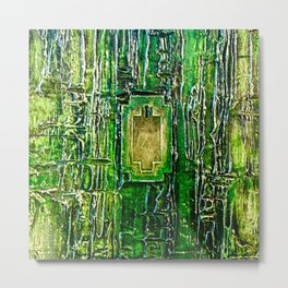 Lost in Oz Abstract Textured emerald Green with Lock Metal Print