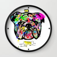 bulldog Wall Clocks featuring Bulldog by morganPASLIER