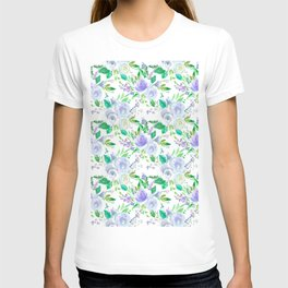 Elegant lilac purple green watercolor hand painted floral T-shirt