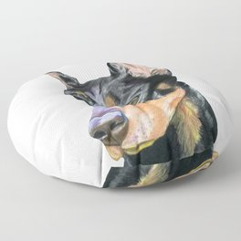 The Portrait of Doberman Pinscher (handpainted) Floor Pillow