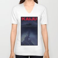 kaiju V-neck T-shirts featuring kaiju by tama-durden