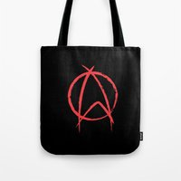 anarchy Tote Bags featuring Federation Anarchy by The Cracked Dispensary