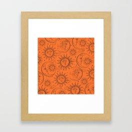 Orange Magic Celestial Sun Moon Stars Framed Art Print