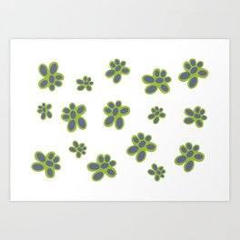 Simple Green and Mauve Flowered Pattern Art Print