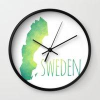 sweden Wall Clocks featuring Sweden by Stephanie Wittenburg