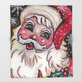 Babyfaced Santa Throw Blanket