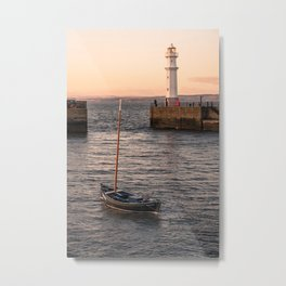 Lighthouse at the Harbor Metal Print