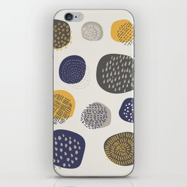 Abstract Circles in Mustard, Charcoal, and Navy iPhone Skin