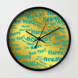 new blue Colorful design happy new year text in gold, festive, elegant gift for anyone in the family Wall Clock