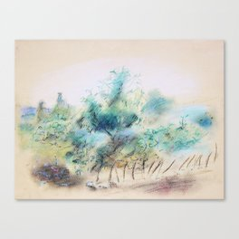 Pastel Yellow Summertime Orchards Canvas Print