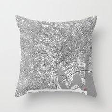 Tokyo Map Line Throw Pillow
