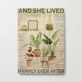 Farmerlife House Plant Lady Lived Happily Ever After Metal Print