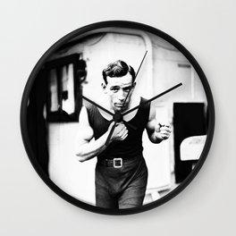 Vintage Boxer Photo Black & White Wall Clock